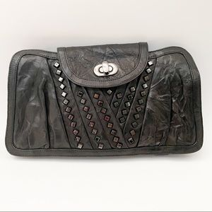 Treesje black leather studded clutch handbag